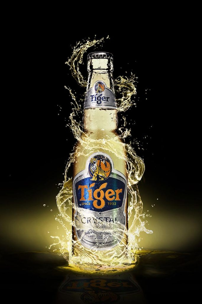 Tiger bottle beer in the water